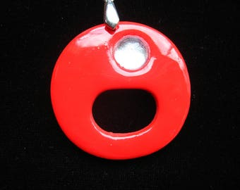 SMALL price: Pendant eyeglass holder pop red polymer clay with White Pearl