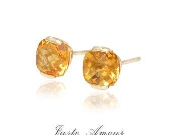 14k Gold 7mm Natural Citrine Earring