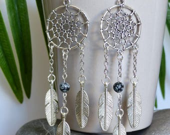 dream catcher earrings, three feathers, genuine gemstone, speckled Obsidian, Tiger eye, jade (of your choice)