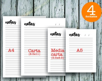 Notes printable A5, A4, Letter, Half letter