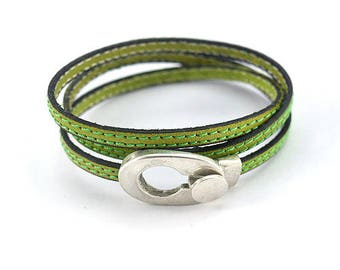 Bracelet green pistachio stitched leather - Silver Oval buckle - leather women bracelet