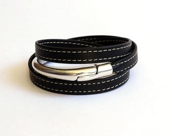 Black stitched leather strap and half silver Bangle with magnetic clasp - handmade leather bracelet