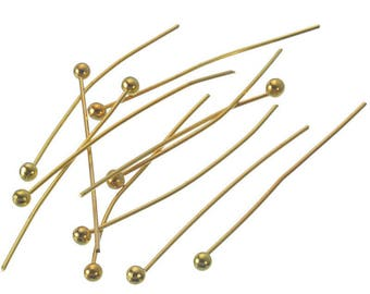 30 PCs pin balls gold plated 25 mm for arts crafts jewelry