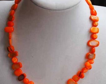 Simple necklace, Pearl, orange, crew neck, 42cm, mother of Pearl irregular rectangle 6-12mm