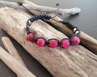 Pink braided Agate Mala bracelet