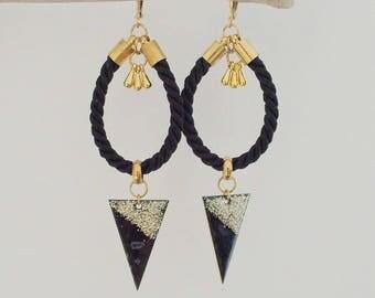 Enamel jewelry - Hindi triangle earrings