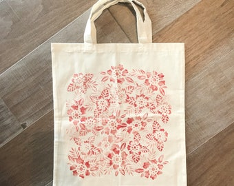 Red floral tote