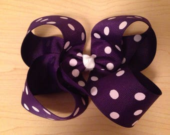 Purple Bow with White Polka Dots