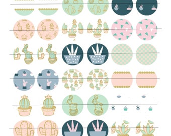 """Digital Board of 48 digital images for creating round cabochons 25mm (1 inch), theme """"Cacti & Succulents"""""""
