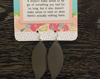 Pewter Leaf Earrings