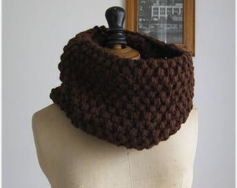 Chocolate Snood crocheted decorative stitches