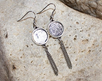 Silver medium round cabochon earrings