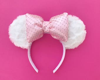 Marie Ears Mickey Minnie Ears Disney Inspired Mouse Ears With White Fur Pink Bow