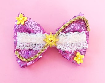 Rapunzel Hair Bow Tangled Sun Bow Disney Minnie Hair Accessories