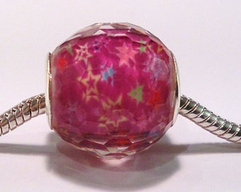European bead charm's Purple pattern and (43rd) facet resin
