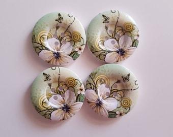 Set of 5 flowers and butterflies wooden buttons