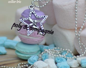 Necklace with three pastel macaroons