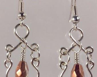 Boucles d'oreilles baroque + perles à facette goutte cuivrée