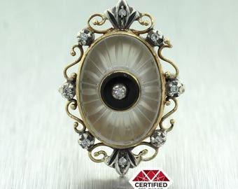 1880s Antique Victorian 14k Yellow Gold Onyx Diamond Camphor Glass Ring