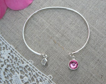 Sterling Silver band, pink Crystal and clear Crystal bracelet