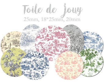 """Cabochon collage sheet / digital """"Toile de jouy"""" round and oval cabochons for sending MAIL"""