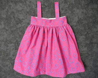 Dress baby 18 months, raspberry and blue flowers