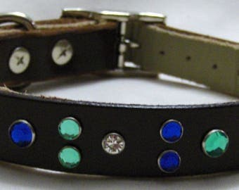 Handmade Leather Dog Collar with Blue and Green Crystal Rivets