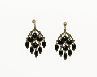 Black enameled pendants earrings