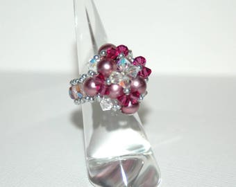 Pink Pearly beads and Swarovski Crystal ring