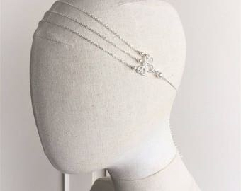 "Bridal headband ""Amandine"" chain silver plated with swarovski pearls"