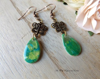 Earrings Peacock pearl butterfly drop