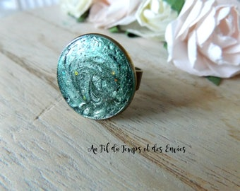 Holographic Cameo Ring Teal green beattle