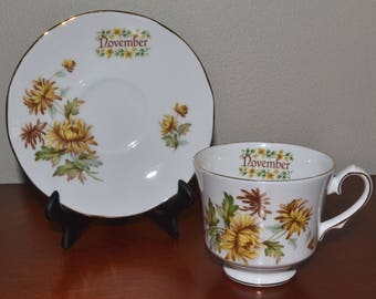 Birthday Cup & Saucer. Duchess Fine Bone China. November Flower of the Month