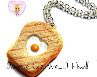 Necklace with miniature toast with egg - kawaii polymer clay gift