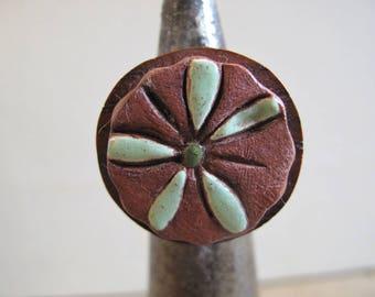 """Wood and ceramic """"Ngaoundéré"""" ring"""