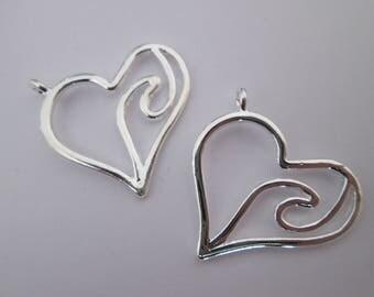 2 breloque coeur vague 24 x 23 mm en métal argenté clair brillant