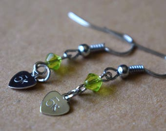"Hand Stamped ""5k"" Earrings with Green Beads"