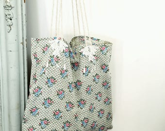 BAG in vintage printed cotton canvas