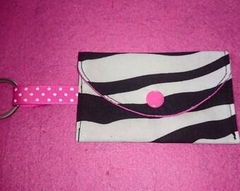 Coin purse Keychain Zebra Pink Ribbon white polka dots