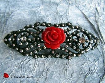 rhinestones and red rose brooch