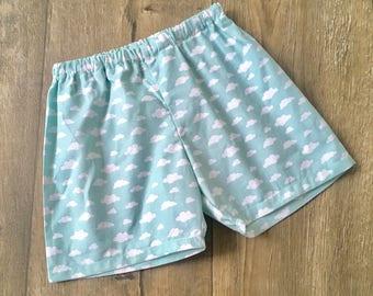 Girls Cloud Print Shorts