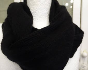 Snood scarf 2 turns black wool
