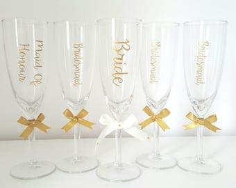 Personalised champagne flute, gold with gold ribbon
