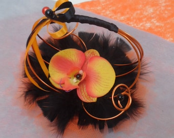 Small holder, orange and black - orange Orchid