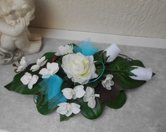 Creamy white centerpiece turquoise and chocolate - 40cm