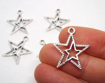 5x Star Charm  19 x 7mm, Silver Coloured double sided