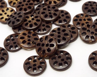 Fretwork  Coconut 2 Hole Round Buttons 13mm, Pack of 8
