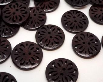 Dark Round Fretwork Lattice wooden buttons 23mm