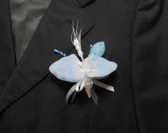 3 color blue mens wedding boutonniere / white