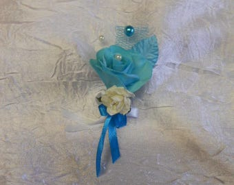 Men of wedding or turquoise brooch lapel pin / white
